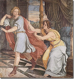 Joseph, falsely accused of rape by Potiphar's wife (Genesis 39,1 bis 39,21)