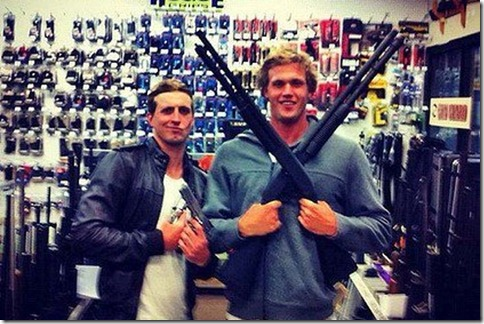 darcy-monk-posing-in-weapons-store