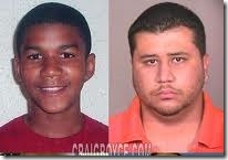 Top: 5 years ago little Trayvon and Geore on his booking photo  looked like this