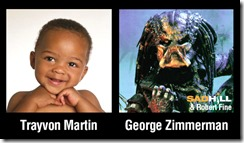 How civil rights activists and the press would like to picture Trayvon Martin and George Zimmermann
