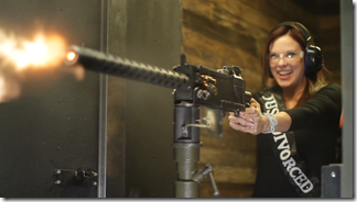 women letting their anger out with machine guns, that is good PC business